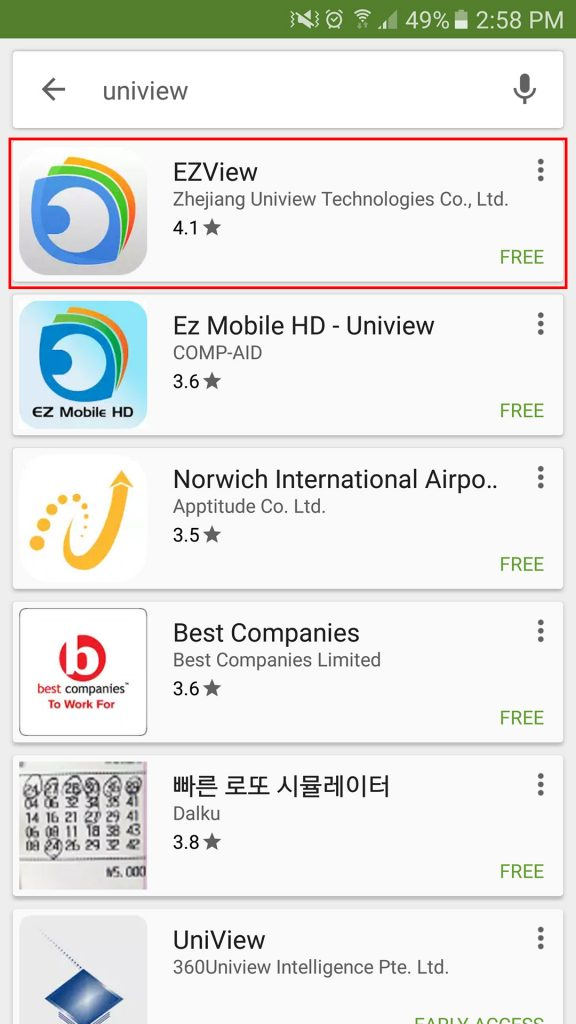 UniView – Install and Configure EZView on your Android Device