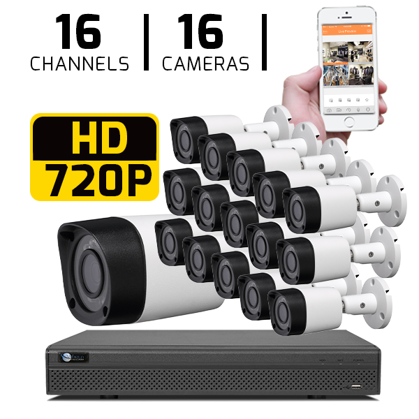 16 CH DVR with 16 HD 720P Security Bullet Cameras & HD DVR Kit for Business Professional Grade