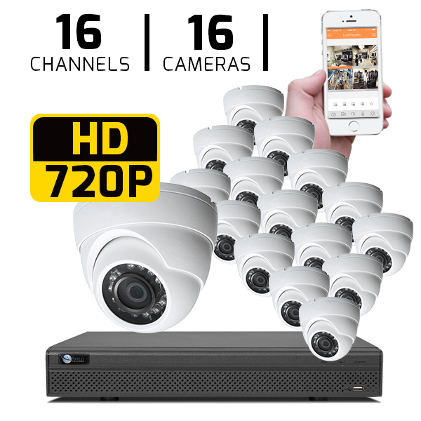 16 CH DVR with 16 HD 720P Security Domes & HD DVR Kit for Business Professional Grade