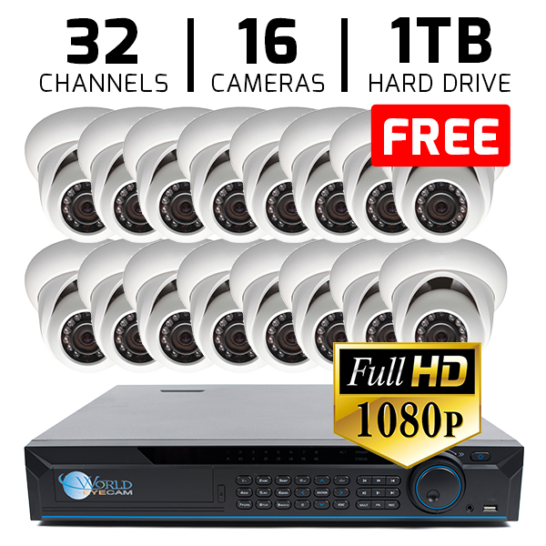 32 CH DVR with 16 HD 1080p Security Dome DVR Kit for Business Professional Grade