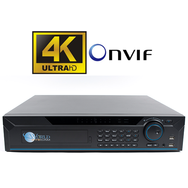 32ch 4K  NVR, Records up to 12MP resolution, 8 SATA HDD, BNC/VGA/HDMI output, 16 PoE Ports