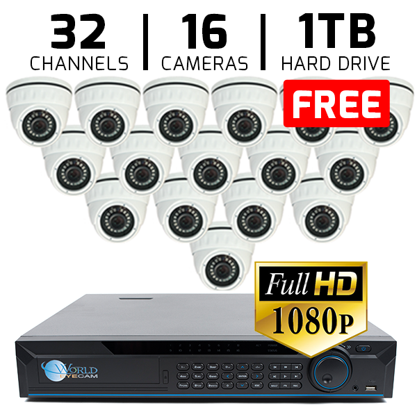 32 CH DVR with 16 HD 1080P Security Universal ACT  Dome & HD DVR Kit for Business Professional Grade FREE 1TB Hard Drive