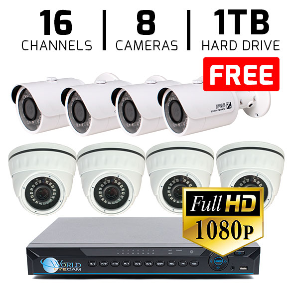 16 CH DVR with 8 HD 1080p Security Dome & Bullet DVR Kit for Business Professional Grade + FREE 1TB Hard Drive