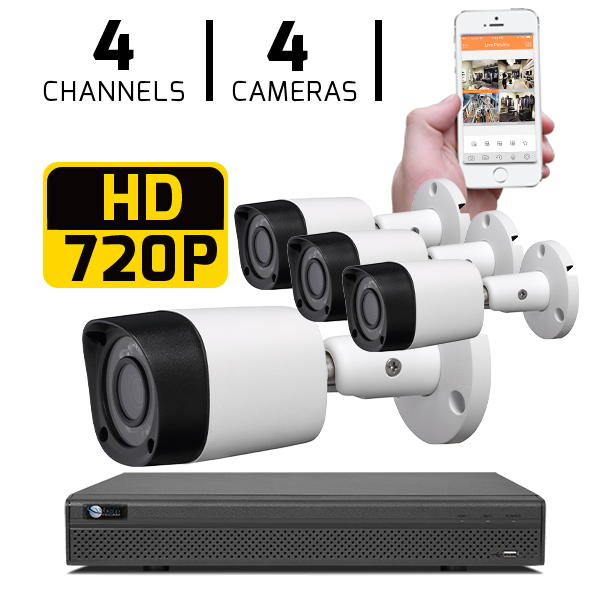 4 CH DVR with 4 HD 720P Security Bullet Cameras & HD DVR Kit for Business Professional Grade