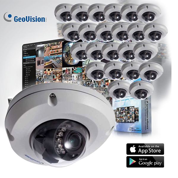 GeoVision EDR Target Series 24 Dome Camera Kit with Free VMS 32CH Software