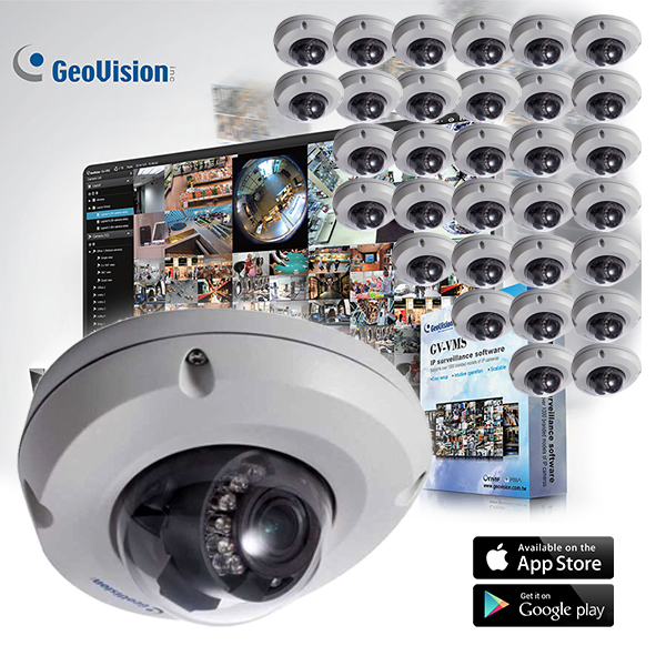 GeoVision EDR Target Series 32 Dome Camera Kit with Free VMS 32CH Software