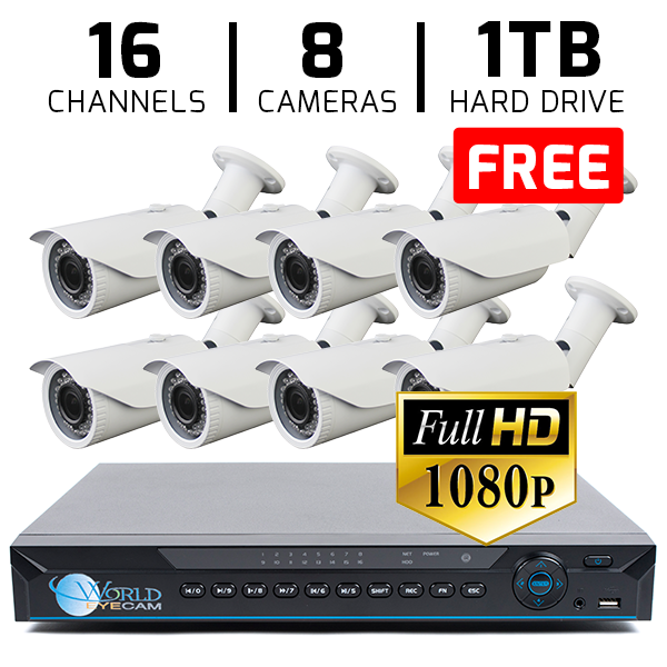 16 CH DVR with 8 HD 1080P Security ACT Bullet IR 135ft Night Vision & HD-CVI DVR Kit for Business Professional Grade + FREE 1TB Hard Drive