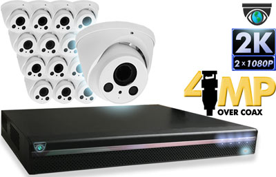 16 CH DVR with 16 HD 4MP Eyeball Cameras HD Kit for Business Professional Grade FREE 1TB Hard Drive
