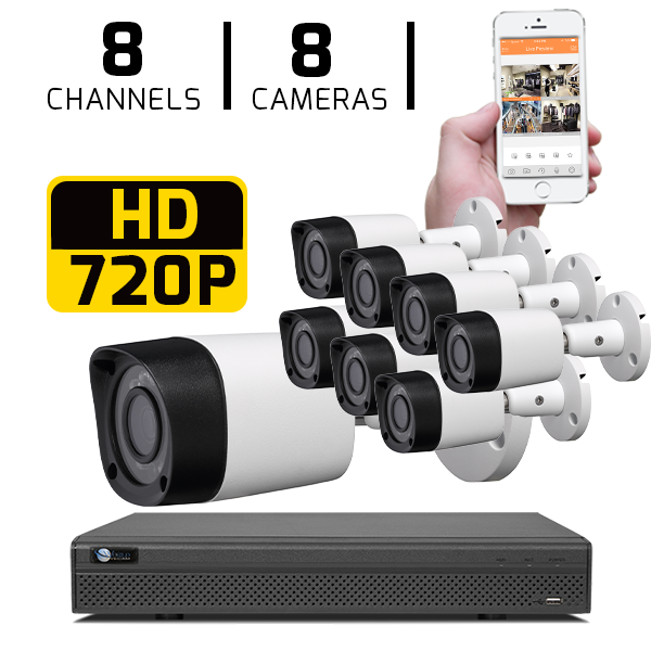 8 CH DVR with 8 HD 720P Security Bullet Cameras & HD DVR Kit for Business Professional Grade