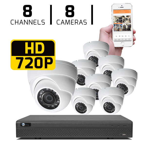 8 CH DVR with 8 HD 720P Security Domes & HD DVR Kit for Business Professional Grade