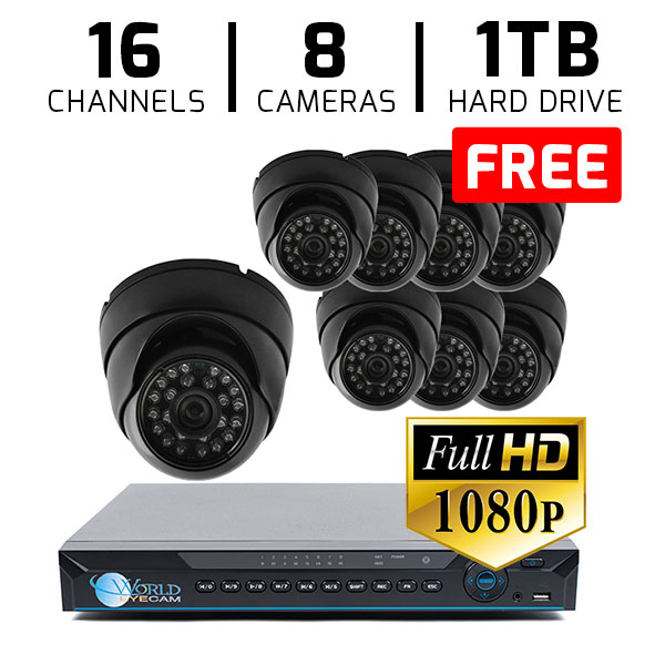 16 CH DVR with 8 HD 1080p Dome Cameras DVR Kit for Business Professional Grade FREE 1TB Hard Drive