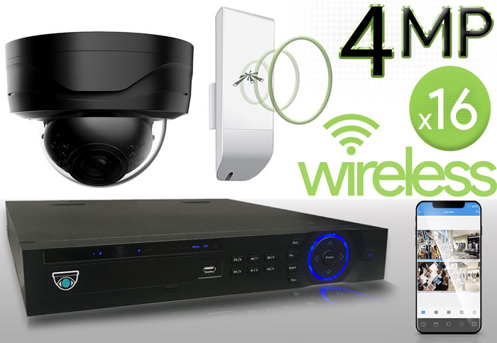 Wireless 4MP IP Dome (16) Camera Kit (Ninja)