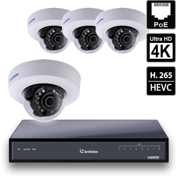 8 Ch 4K GeoVision H.265 DVR with 4 PoE Dome Cameras (EFD4700)
