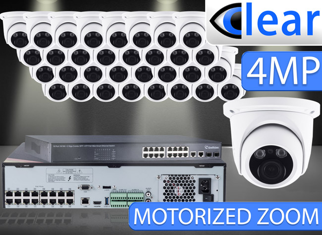 32 CH NVR with (32) IPX14 4 Megapixel, 3.3-12mm Motorized Lens, 30m IR, H.265, CVBS (BNC) Optional, Network IP Dome Camera, & 16 Channel POE Switch