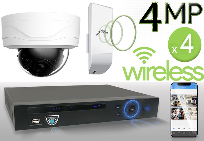 Wireless 4MP IP Dome (4) Camera Kit (White)