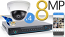 8 CH NVR with 4 4K 8MP Mini Dome Cameras 4K Kit for Business Professional Grade FREE 1TB Hard Drive