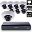 8 Ch 4K GeoVision H.265 DVR with 8 PoE Dome Cameras (EFD4700)