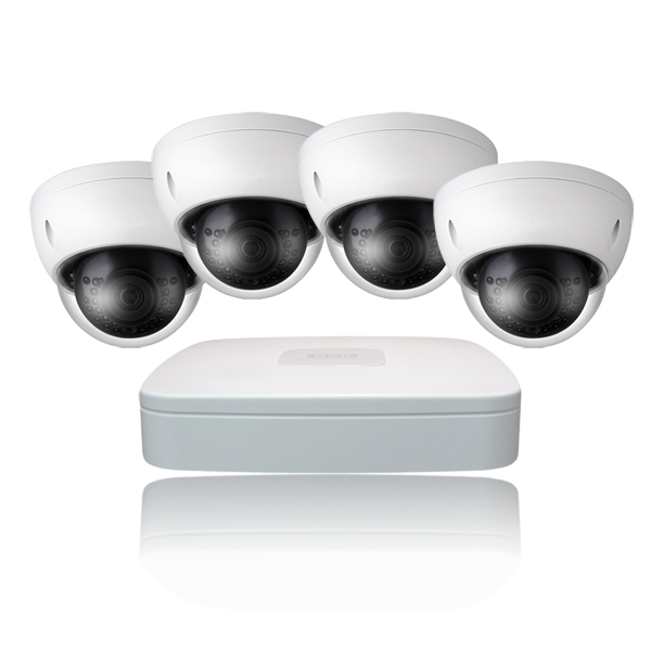 4 Ch NVR & 4 HD Megapixel IR Dome (2MP, 3MP Options) Kit for Business Professional Grade