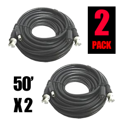 50 Feet BNC/DC Video/Power Siamese Cable - 2 Pack