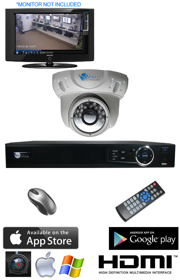 1 Dome IR Night Vision Security Camera DVR System IMAX-DM600-1CH-KIT