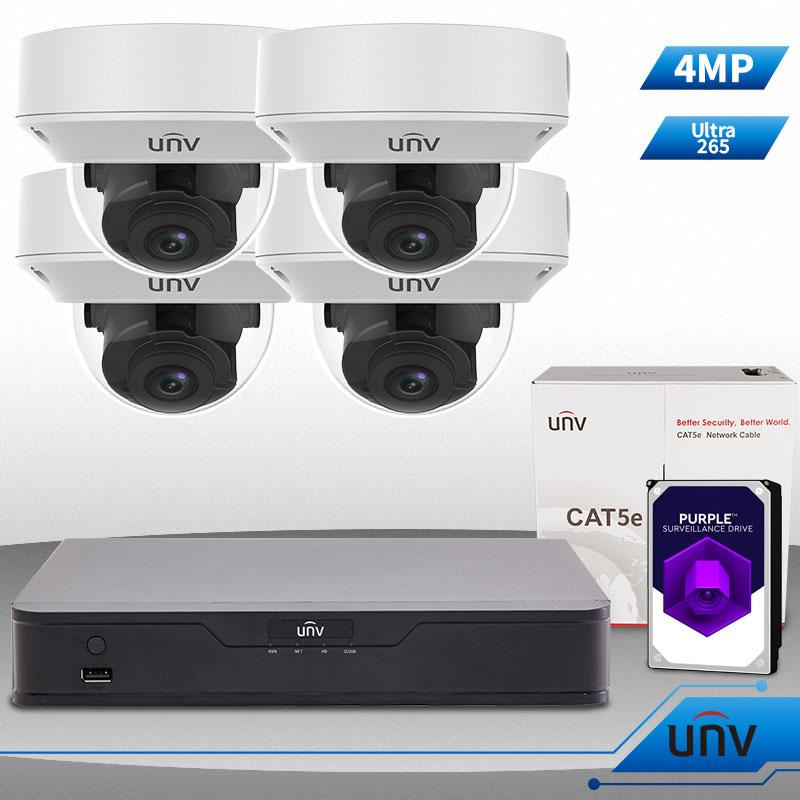 Uniview 4 Ch NVR & (4) 4MP HD Megapixel IR Dome 2 8-12mm
