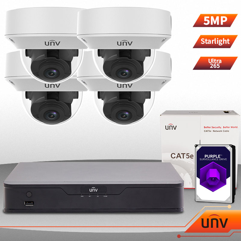 UNV Uniview 4 Ch NVR & (4) 5MP Megapixel Starlight IR Motorized Vandal Dome  Kit for Business