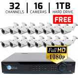 32 CH DVR with 16 HD 1080P Varifocal 2.8-12mm Security Bullet IR 200ft Night Vision HD-CVI Kit for Business Professional Grade + FREE 1TB hard Drive