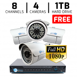 Complete 8CH DVR with 4 Bullet Camera 1080P HD-CVI Security System FREE 1TB Hard Drive