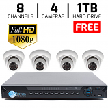 4 HD 1080p Security Dome 8Ch DVR Kit for Business Professional Grade