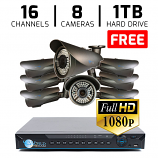 16 CH DVR with 8 HD 1080P Varifocal 2.8-12mm Security Bullet IR 200ft Night Vision HD Kit for Business Professional Grade FREE 1TB Hard Drive