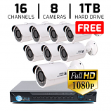16 CH DVR with 8 HD 1080P Bullet Cameras HD Kit for Business Professional Grade FREE 1TB Hard Drive