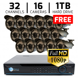 32 CH DVR with 16 HD 1080P Varifocal 2.8-12mm Security Bullet IR 200ft Night Vision HD Kit for Business Professional Grade FREE 1TB Hard Drive