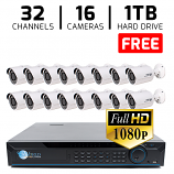 32 CH DVR with 16 HD 1080p Bullet Cameras DVR Kit for Business Commercial Grade + FREE 1TB Hard Drive