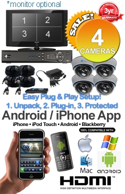 Easy Setup Plug and Play MAC & Windows Compatible H.264 1080p HD - Complete 4 Camera Video Security Camera System - IMAX-4CH-SonyEffio700-Kit