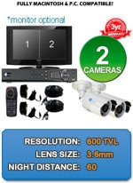 MAC and Windows Compatible H.264 1080p HD - Complete 2 Camera Video Security Camera System - IMAX-2CH-IMAX-BL650IRW-KIT