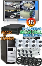 High Definition Megapixel 16 IP Camera Indoor/Outdoor Combo System
