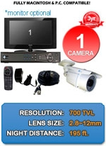 MAC and Windows Compatible H.264 1080p HD - Complete 1 Camera Video Security Camera System - IMAX-1CH-NIGHTGUARD700W-KIT