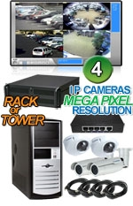 High Definition Megapixel 4 IP Camera Indoor/Outdoor Combo System
