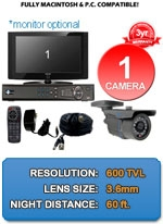 MAC and Windows Compatible H.264 1080p HD - Complete 1 Camera Video Security Camera System - IMAX-1CH-IMAX-NGB-LITE-KIT