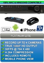 Platinum Lite Class: 4 Channel High Definition 1080P Enterprise Class DVR - Apple IPHONE MAC OSX Windows PC Compatible