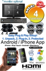 Easy Setup Plug & Play MAC & Windows Compatible H.264 1080p HD - Complete 4 Camera Video Security Camera System - IMAX-4CH-SonyEffio700IR-Kit