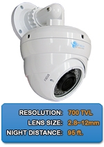 IMAX-A8000VIR - 700TVL Outdoor Day/Night Low Lux IR Vandal Dome With Adjustable Mounting Arm