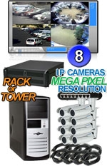 High Definition Megapixel 8 Bullet IP Camera System