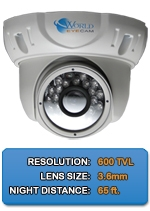WEC-DM600IR-W - 600TVL Indoor/Outdoor IR Dome Security Camera