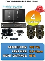 MAC and Windows Compatible H.264 1080p HD - Complete 4 Camera Video Security Camera System - 4CH-IMAX-A7000VIR-B-KIT