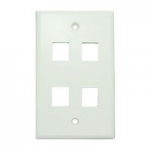 Wall Plate for Keystone, 4 Hole -White