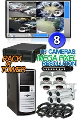 High Definition Megapixel 8 IP Camera Combo System - Bullets and Vandal Proof Domes