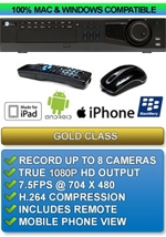 Gold Class: 8ch 1080P High Definition Commercial Class DVR - Apple IPHONE MAC OSX Windows PC Compatible