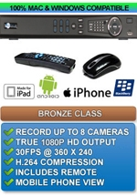 Bronze Class: H.264 1080p HD Output DVR 8 Channel - Apple IPHONE MAC OSX Windows PC Compatible