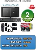 MAC and Windows Compatible H.264 1080p HD - Complete 2 Camera Video Security Camera System - 2CH-CSP-NSP-KIT